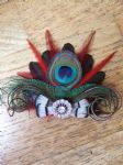 "Bridal Prom Red Burgundy Peacock Feathers Fascinator Hair Clip ""Tabitha"""